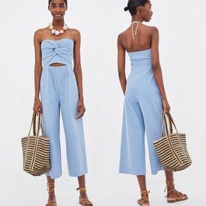 ✨ Zara Seersucker Culottes Jumpsuit ✨